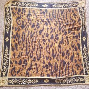 Large Gianni Versace Leopard Animal Print Scarf